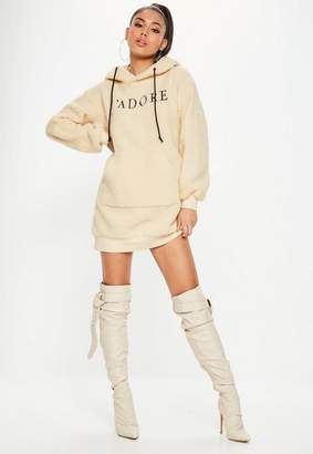 Missguided Nude Long Sleeve Sweater Dress