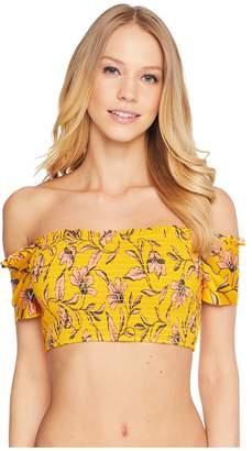 Splendid Golden Girlie Smocked Off Shoulder Bra Women's Swimwear