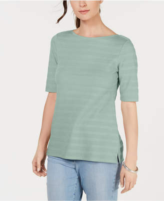 Charter Club Cotton Texture-Striped Elbow-Sleeve Top