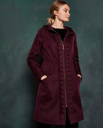 Ted Baker ZOWE Ruffle detail hooded parka