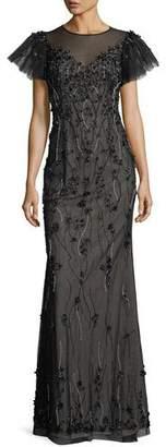 Rickie Freeman For Teri Jon Embellished Puff-Sleeve Column Gown