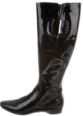 Giorgio Armani Patent Leather Square-Toe Boots w/ Tags