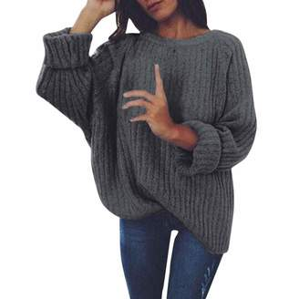 9146e7a07e3d Pervobs Womens Sweater Pervobs Women s Knitted Crew Neck Long Sleeve Wrap  Front Loose Sweater Pullover Jumper