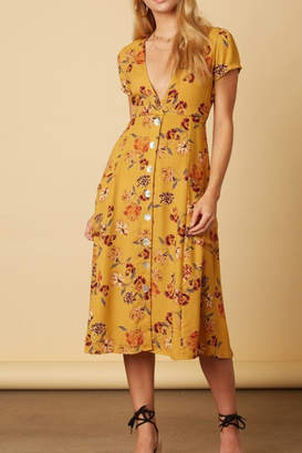 Cotton Candy Mustard Floral Dress