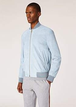 Men's Light Blue Suede Bomber Jacket With 'Artist Stripe' Cuff Lining