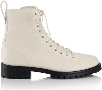 Jimmy Choo CRUZ FLAT Linen Grainy Leather Combat Boots