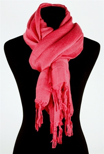 Love Quotes Linen Tassel Scarf in Wild Rose