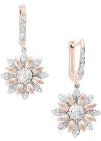 Effy Diamond, 14K Rose Gold and White Gold Flower Earrings