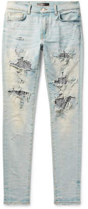 Amiri Skinny-Fit Sequin-Embellished Distressed Stretch-Denim Jeans