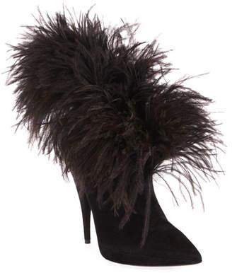 Saint Laurent Zizi Suede Feather Booties