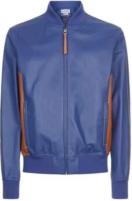 Loewe Contrast Leather Bomber Jacket
