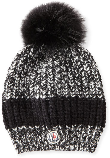 Moncler Moncler Cable-Knit Hat w/Fur Pompom, Black