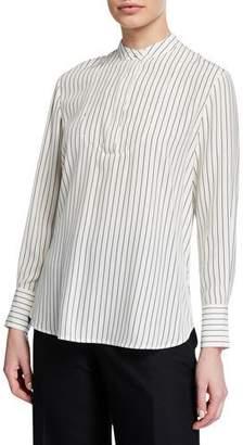 Co Striped Satin Long-Sleeve Split Back Blouse