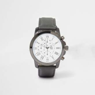 River Island Mens Grey leather look strap round face watch