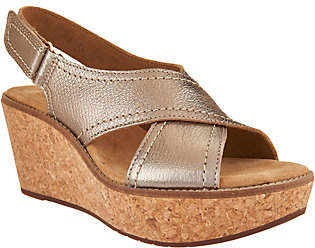 Clarks Artisan Leather Cross Band Wedge Sandals- Aisley Tulip