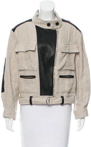 IROIro Linen Leather-Accented Jacket