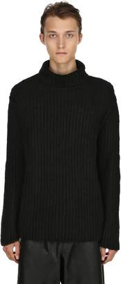 Isabel Benenato High Collar Chunky Wool Rib Knit Sweater