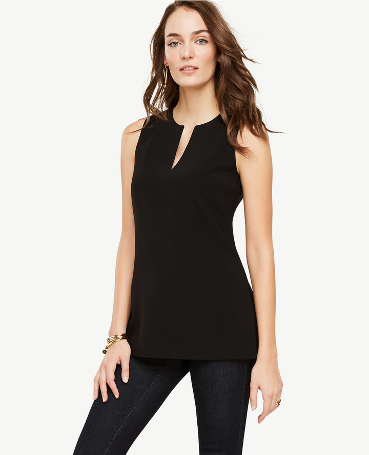 Ann Taylor Triacetate Split Neck Tunic