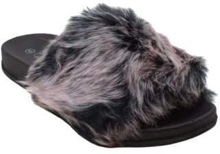 BLUE SUEDE SHOES Blue Women's Didi Fur Fashion Slip On Sandals