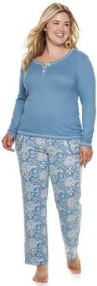 Ink Ivy Plus Size INK + IVY Henley Tee & Pants Pajama Set