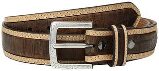 Ariat Strap with Croc Print Center Inlay Belt Men's Belts