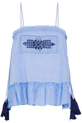 Lemlem Smocked Embroidered Cotton-Voile Peplum Top