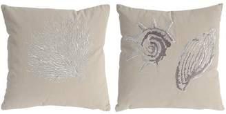 A&B Home Seashell Cotton Trow Pillows, Set of 2