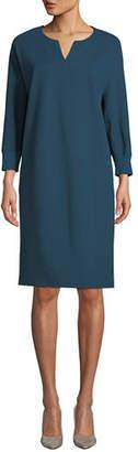 Lafayette 148 New York Thoren Shift Dress with Knit Trim