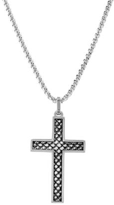 Steve Madden Circle Textured Design Cross Pendant Box Chain Necklace