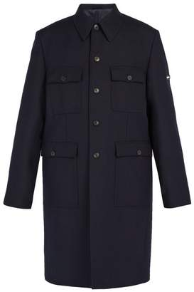 Balenciaga Military Single Breasted Wool Coat - Mens - Navy