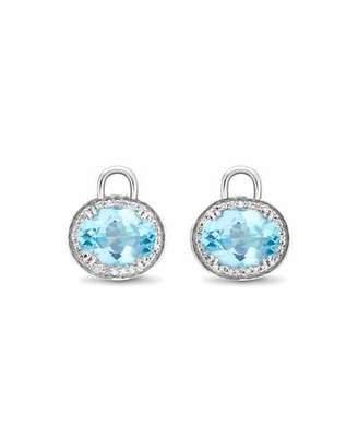 Kiki McDonough Oval Blue Topaz & Diamond Earring Drops, 18k White Gold