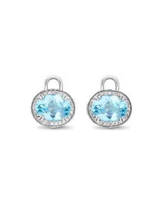 Kiki McDonough Oval Blue Topaz & Diamond Earring Drops, 18k White Gold