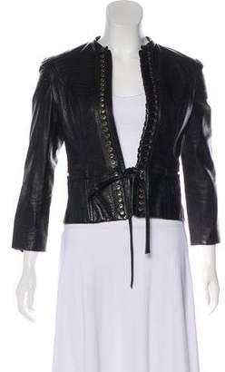 Valentino Leather Embossed Jacket