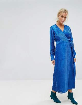Gestuz Velvet Printed Maxi Dress With Tied Waist