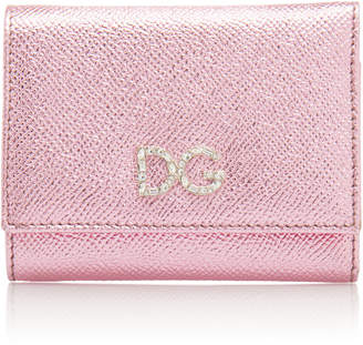 Dolce & Gabbana Crystal-Embellished Metallic Leather Wallet
