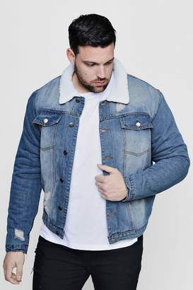 boohoo Big And Tall Borg Lined Blue Denim Jacket