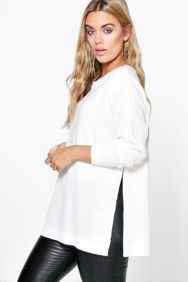 boohoo Plus Side Split Moss Stitch Tunic Jumper