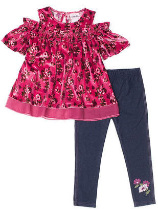 Little Lass 2-pc Velvet Trim Ruffle Legging Set-Baby Girls