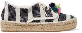 Loeffler Randall Pompom-Embellished Striped Woven Espadrilles