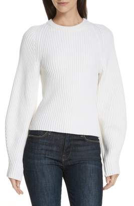 Theory Sculpted Sleeve Shaker Stitch Merino Wool Sweater