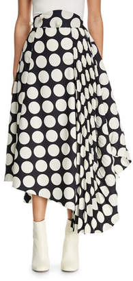 Awake Giant Polka-Dot Skirt with Pleated Detail