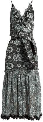 Johanna Ortiz Bead Embellished Lace Cotton Blend Faille Dress - Womens - Black Multi