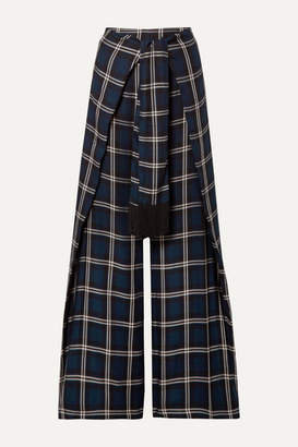Mother of Pearl Georgina Tie-front Checked Twill Wide-leg Pants - Midnight blue