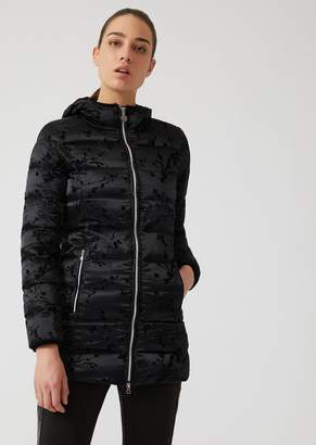 Emporio Armani Ea7 Windproof Jacket With Fabric Hood And Flock Print