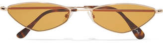 Cat Eye Andy Wolf - Eliza Oval-frame Gold-tone Sunglasses - Brown