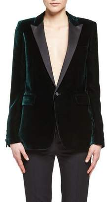 Saint Laurent Velvet Peak-Lapel Blazer, Emerald $3,490 thestylecure.com
