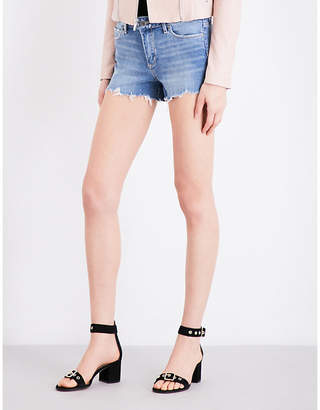 Paige Denim Vera frayed-hem distressed stretch-denim shorts $210 thestylecure.com