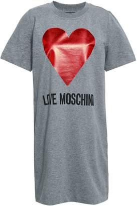 Love Moschino Melange Printed Stretch-cotton Jersey Mini Dress