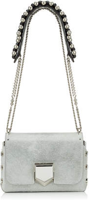 Jimmy Choo LOCKETT PETITE Moonstone Metallic Pony Shoulder Bag with Bead Embellished Strap