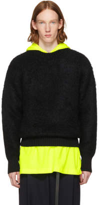 N.Hoolywood Black Wool Crewneck Sweater